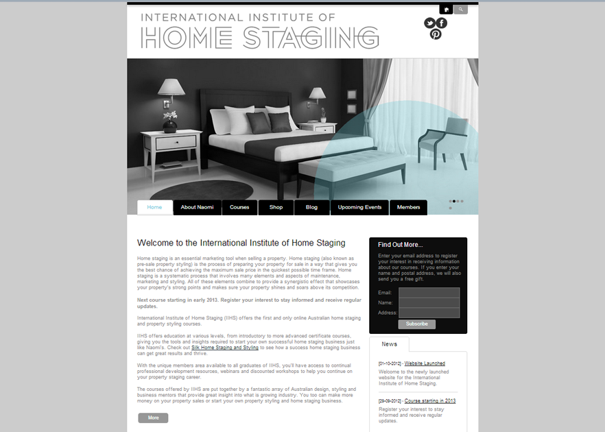 Wordpress CMS design for Institute of Home Staging