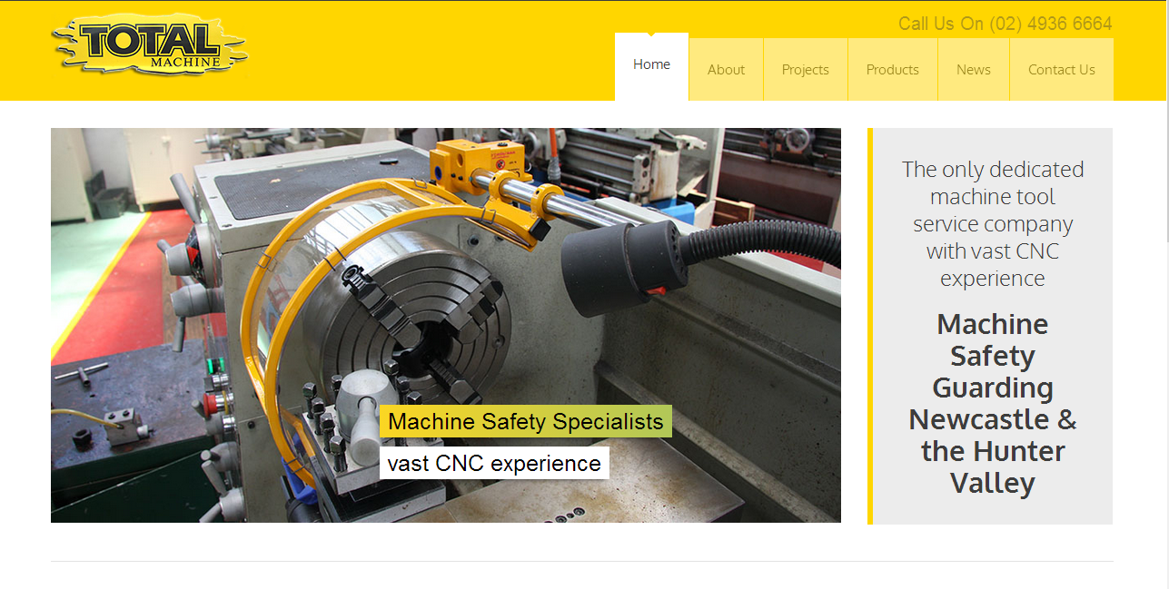 Total Machine - Home page of new CMS Wordpress website