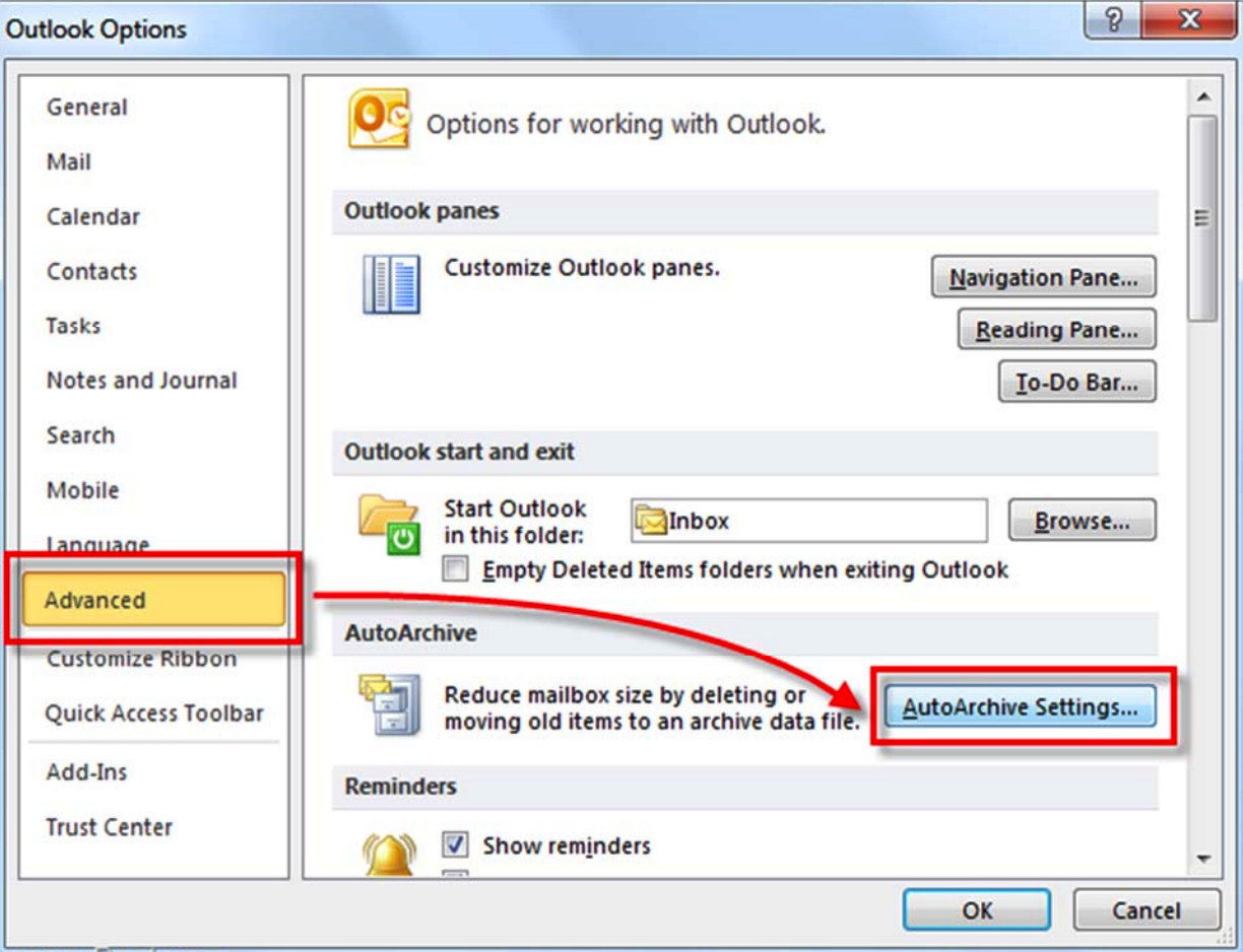 Autoachiving in Outlook
