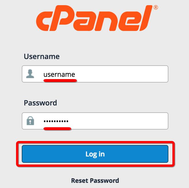 cPanel login box